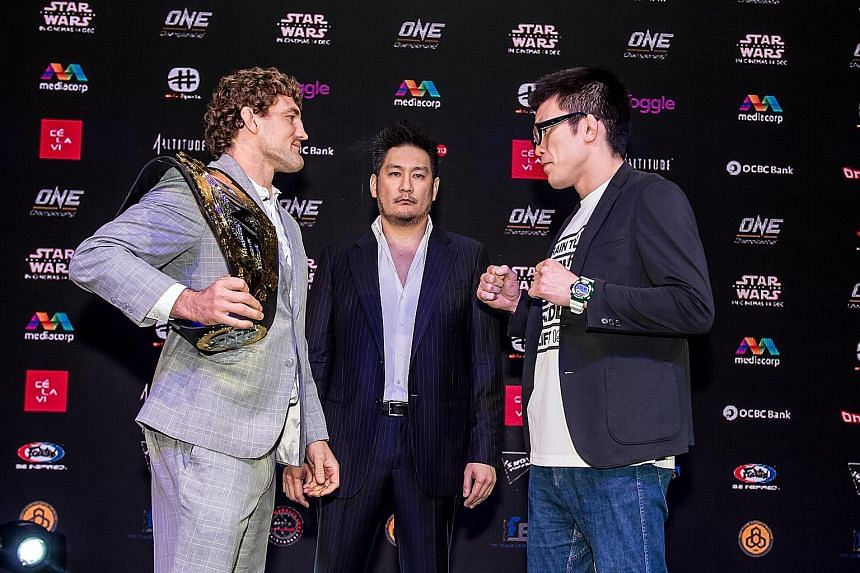 With tomorrow's Angela Lee bout off, the attention will turn to American One welterweight world champion Ben Askren's (far left) final fight of his mixed martial arts career - against Evolve stable-mate, Japan's Shinya Aoki. In the centre is One chai