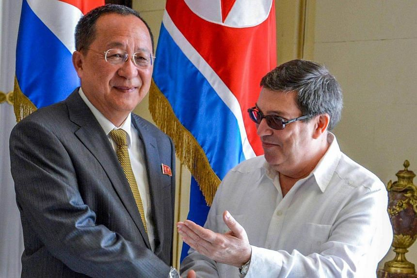 Cuban Foreign Minister Bruno Rodriguez (right) and his North Korean counterpart Ri Yong Ho, meet in Havana, Cuba, on Nov 22, 2017, to promote relations between their countries.