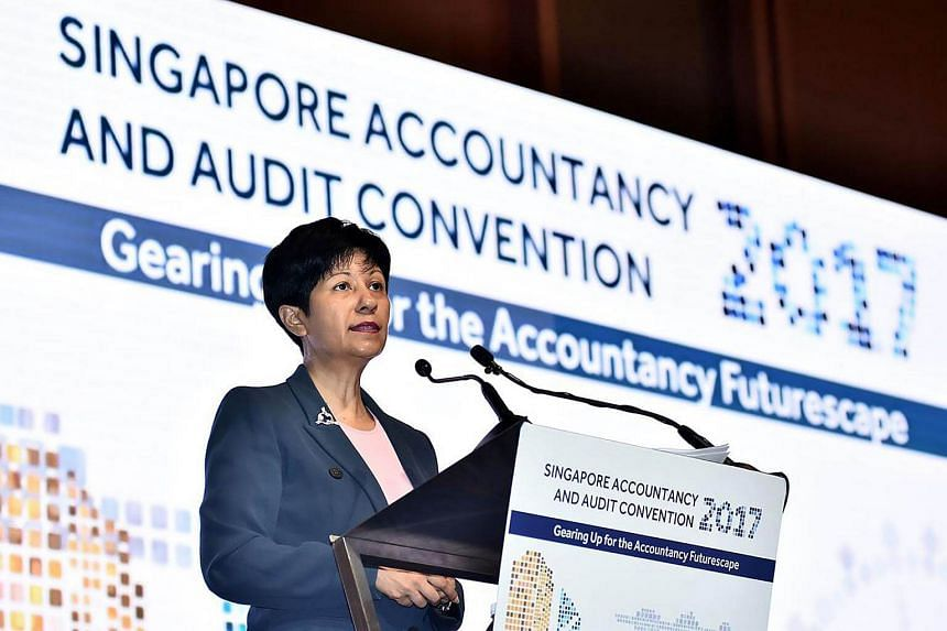 Senior Minister of State for Law and Finance Indranee Rajah delivering her keynote address at the Singapore Accountancy and Audit Convention (SAAC) 2017.
