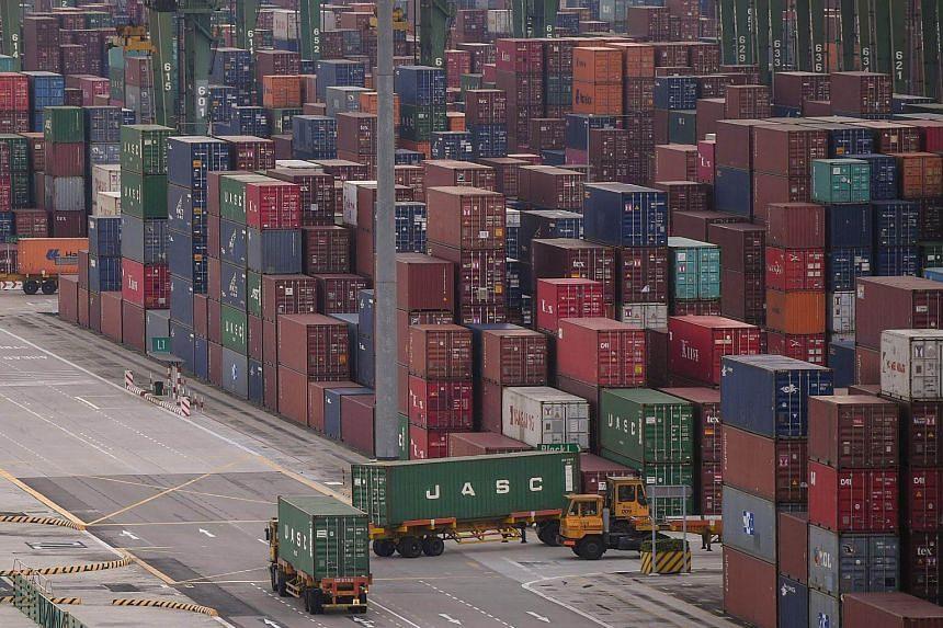 Containers seen at PSA Singapore Pasir Panjang Terminal.