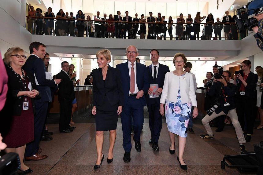 (From left) Julie Bishop, Malcolm Turnbull, Steve Ciobo and Frances Adamson arrive for the official launch of the 2017 Foreign Policy White Paper at the Department of Foreign Affairs and Trade (DFAT) in Canberra, Australia.