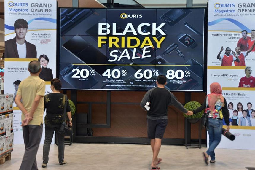 Courts began participating in Black Friday in Singapore in 2013, and signs advertising the event went up at its Tampines megastore on Nov 23, 2017.