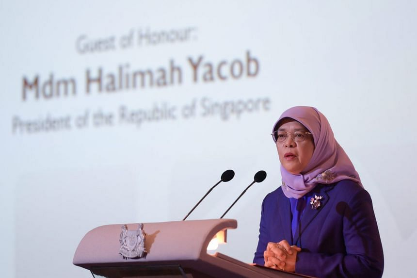 President Halimah Yacob speaking at the World Bank Conference on Infrastructure Development.