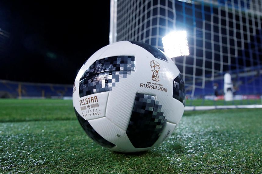 The official ball of Fifa World Cup 2018, Telstar 18, on the pitch during Spain's training before their friendly match against Russia on Nov 13, 2017.