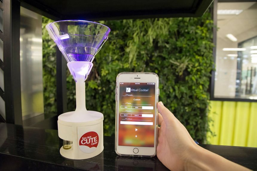 The Vocktail system uses sensory modalities to create virtual flavours and augment the existing flavours of a drink.This is coupled with a mobile app that helps to create customised virtual flavour sensations by configuring the stimuli via Bluetooth.