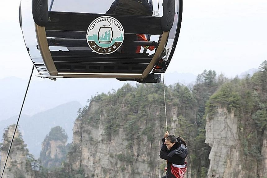 A woman hanging on to a rope from a cable car during a high-altitude mock rescue exercise yesterday at the popular tourist attraction, Zhangjiajie, located in China's Hunan province. Ropeway safety performance, emergency rescue system and rapid respo