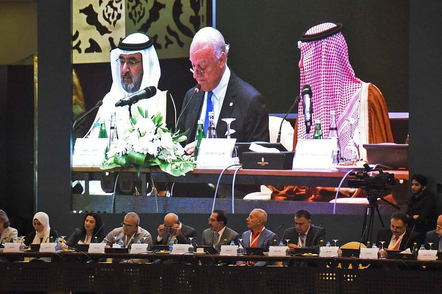 Saudi Minister of Foreign Affairs Adel al-Jubeir (right) sits next to UN special envoy for Syria crisis Staffan de Mistura (centre) during the Syrian opposition meeting in Riyadh, on Nov 22, 2017.