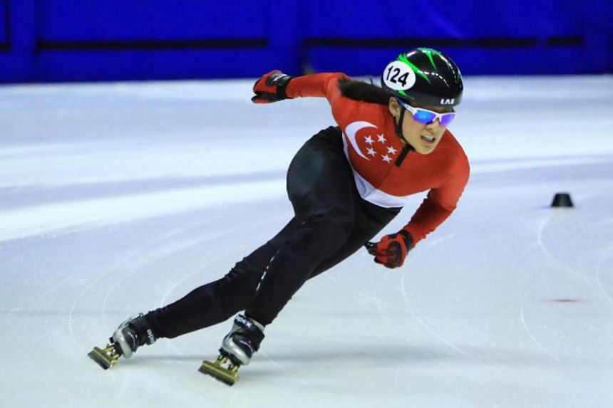 Short track speed skater Cheyenne Goh at the National Short Track Speed Skating Championships in Singapore in 2016.