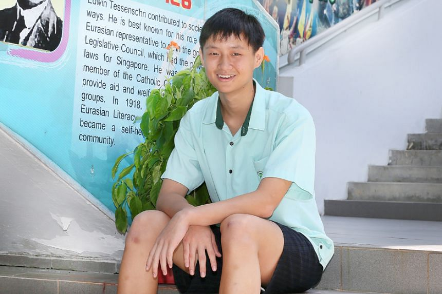 Matthew Sun from Huamin Primary School scored A*s for Chinese and mathematics, an A for science and a B for English for his Primary School Leaving Examination. He also managed a merit for his Higher Chinese subject.