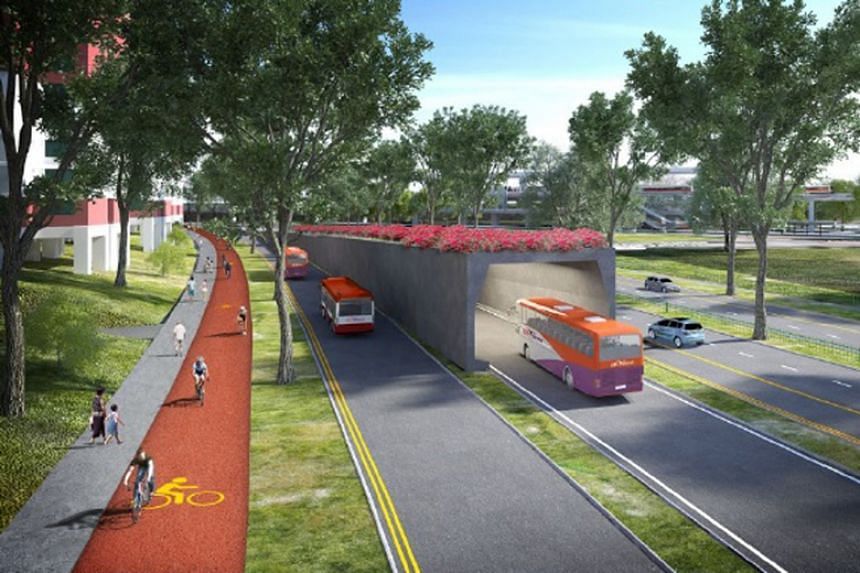 An artist's impression of the dedicated bus lanes in tunnels and on surface roads, and the cycling trunk routes of the North-South Corridor, a 21.5km expressway that will connect towns in the north to the city centre.