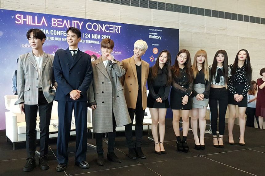 Korean boyband Shinee and girlband Red Velvet were flown in as the ambassadors of Korean duty free retailer The Shilla Duty Free, which opened a new outlet at Changi Airport Terminal 4.