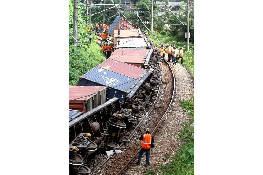 A Malaysian cargo train derailed at the Bank Negara station in Kuala Lumpur yesterday morning, disrupting railway services in the Klang Valley. According to the New Straits Times, the 12-coach southbound cargo train derailed at about 3am. The inciden