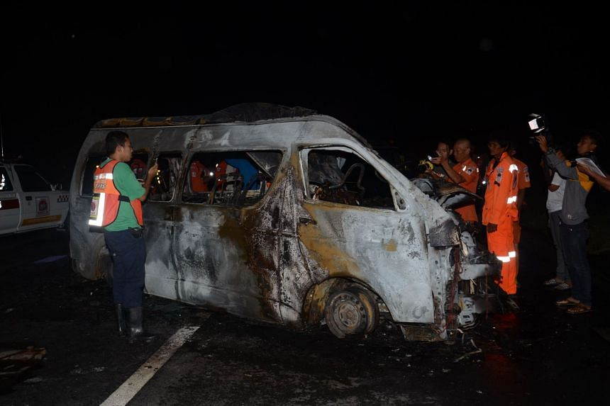 The van was travelling from the border town of Mae Sot, a common entry point for Myanmar migrant workers, to Bangkok when it crashed into a truck on Nov 24, 2017.