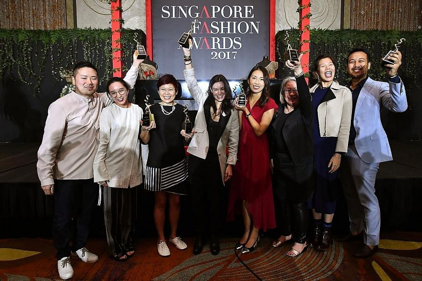 Winners at the fashion awards included (from left) Mr Keita Ebihara and Ms Elizabeth Soon of Ametsubi, Ms Carolyn Kan of Carrie K, Ms Chelsea Scott-Blackhall of Dzojchen, Ms Trixie Khong of By Invite Only, Ms Marilyn Tan of Marilyn Tan Jewellery, and
