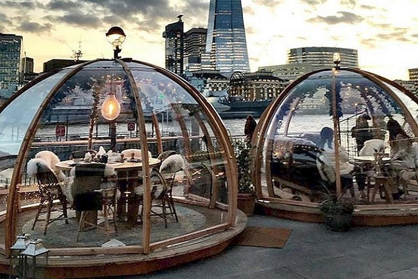 The Coppa Club bar and restaurant (left) in London is among a number of places with the dome-like pods.
