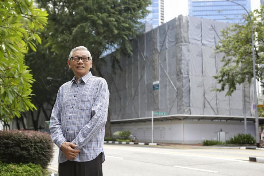 Noordin Abdul Rahman stands in front of the former TP Headquarters during the opening of Maxwell Memories on Nov 25, 2017.
