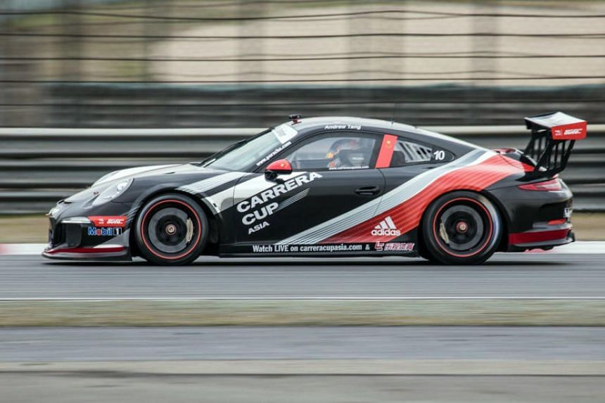 Race driver Andrew Tang in action during this year's Porsche Carrera Cup Asia.