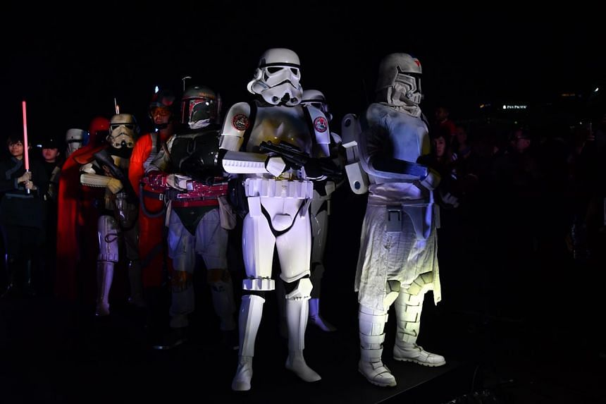 Dozens of fans dressed up as Stormtroopers and Jedi Masters graced the event.