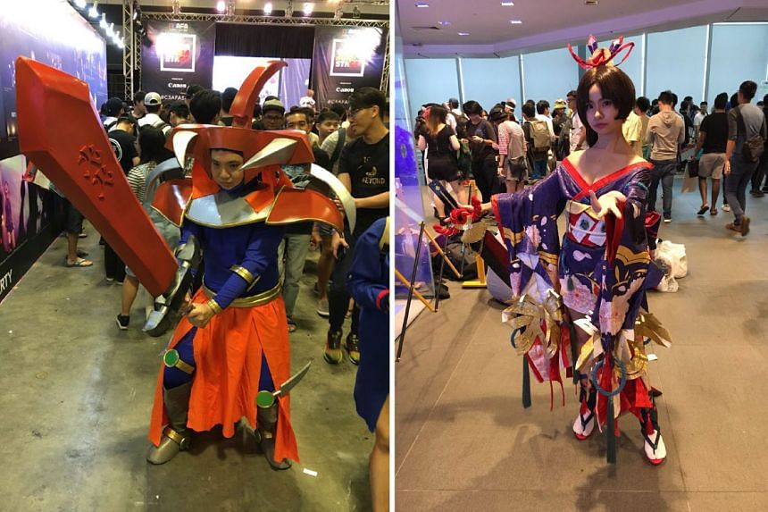 Left: Mr Tan Jia Sheng dressed as Flame Swordsman from Yu-Gi-Oh Duel Monster. Right: Ms Ong Liteng, who goes by the cosplay pseudonym Marimo, as Youtouhime from the role-playing game Onmyoji.