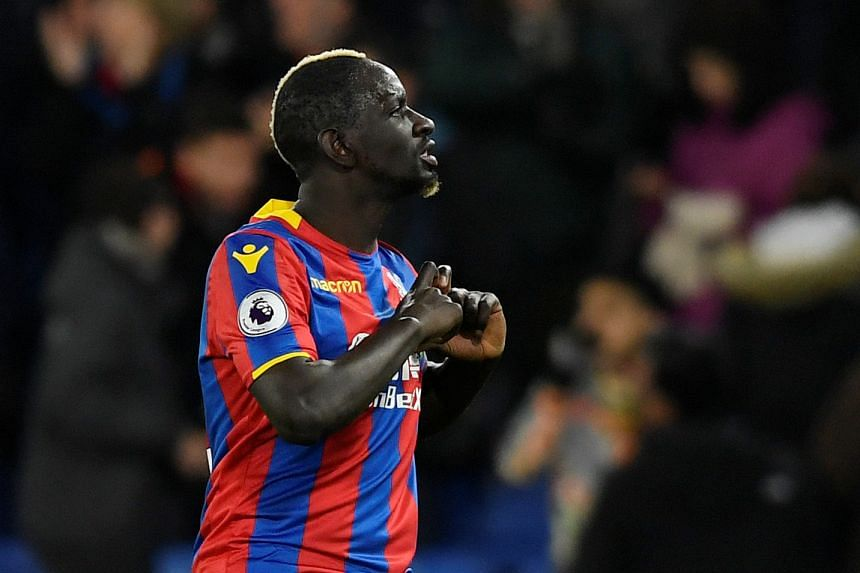 Crystal Palace's Mamadou Sakho celebrates scoring their second goal.