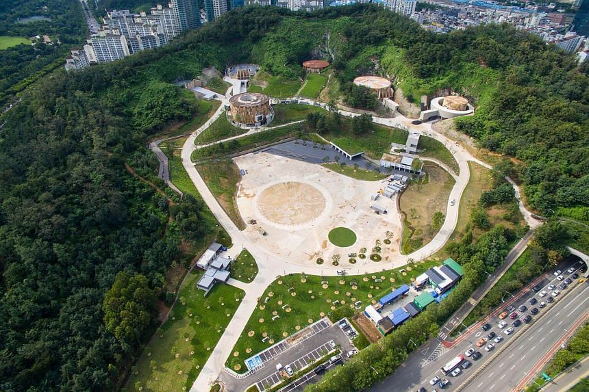 The Oil Tank Culture Park in Seoul, which was once a hidden oil depot.