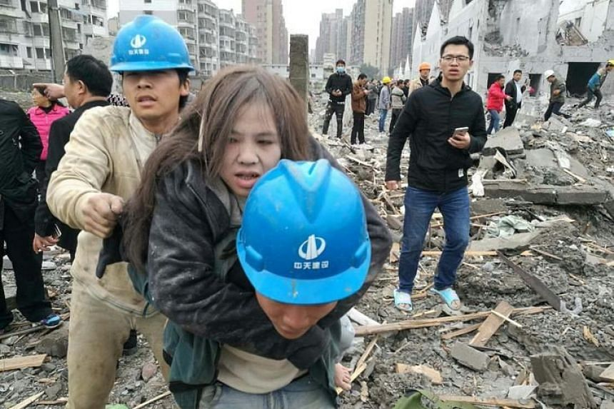 An explosion happened at around 9am on Nov 26 at a factory in the Jiangbei district of Ningbo City, causing some buildings to collapse.