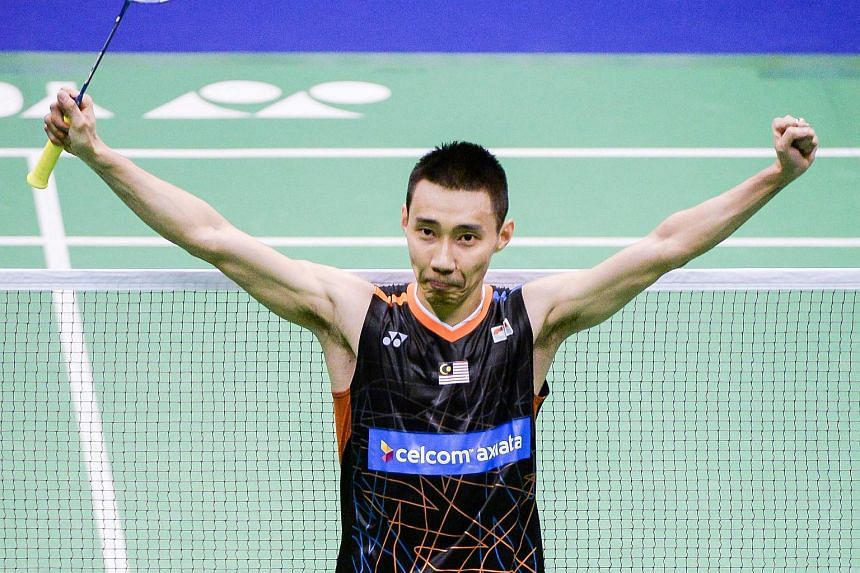 Lee Chong Wei celebrating after defeating Chen Long at the Hong Kong Open on Nov 26, 2017.