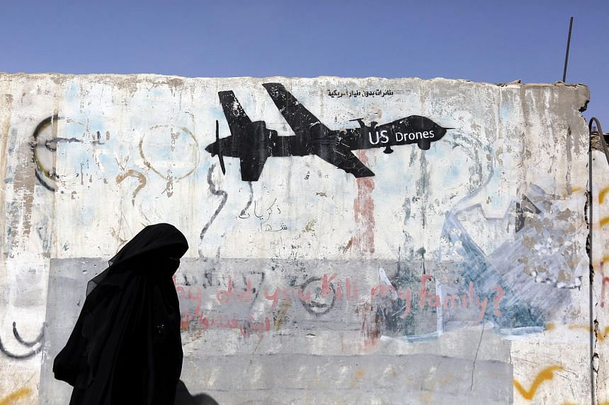 Graffiti depicting a US drone is seen on a wall in Sana'a, Yemen. Iran said the US was responsible for Saudi atrocities in Yemen, on Nov 26, 2017.