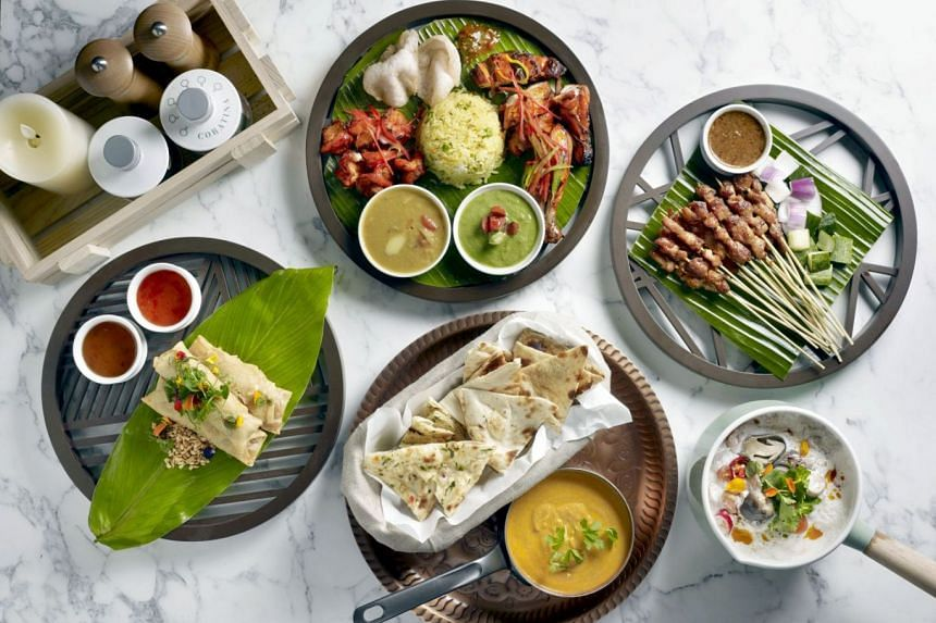 Enjoy Asian dishes (above) at buffet restaurant Food Exchange in Novotel Singapore on Stevens.