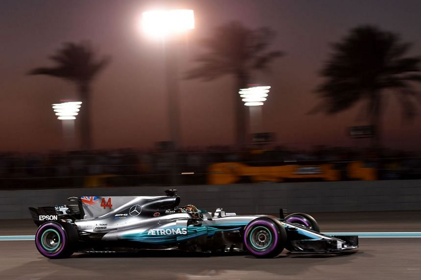 Hamilton steers his car during the qualifying session.