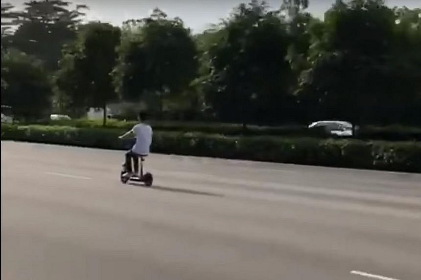 A video that was shared online shows a man on an e-scooter riding on the second lane of the Pan-Island Expressway. The e-scooter has been impounded and the rider is assisting in investigations, said the LTA in a Facebook statement.