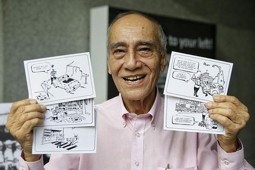 Former Traffic Police officer David Pattiselanno with the postcards he drew, featuring various Singapore landmarks based on places he patrolled when he was on duty. The postcards are being given out as part of the Maxwell Memories exhibition.