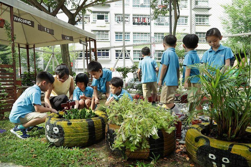 Children taking part in a gardening activity in MOE Kindergarten @ Punggol View.