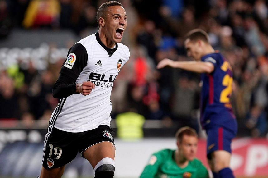 Valencia's striker Rodrigo Moreno jubilates the first goal of the team during the Spanish First Division League 13th round match between Valencia and FC Barcelona in Valencia, Spain on Nov 26, 2017.
