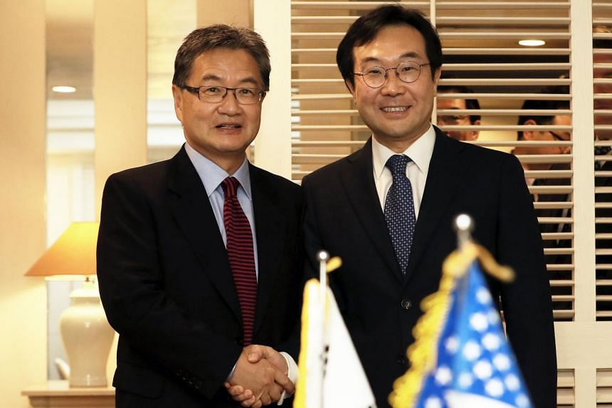 Mr Lee Do Hoon (right), South Korea's special representative for Korean Peninsula Peace and Security Affairs, and Mr Joseph Yun, US special representative for North Korea policy, last met on Nov 17.