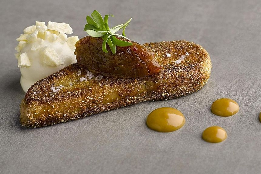 Osia's Pan-fried Foie Gras is served with pineapple.
