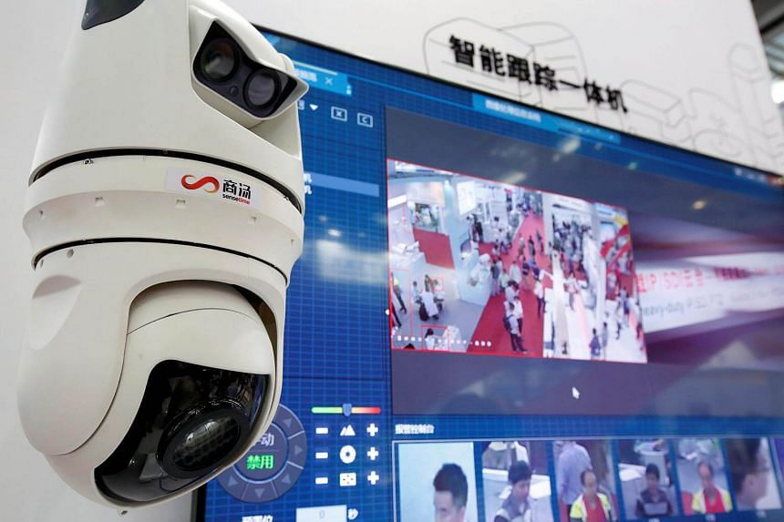Facial recognition technology is shown at the SenceTime Group booth during the China Public Security Expo in Shenzhen, China, on Oct 30, 2017.