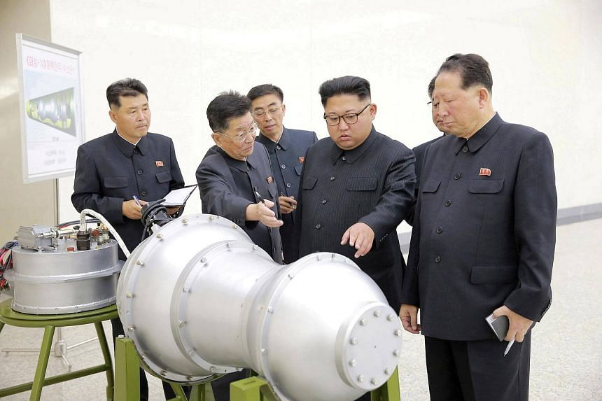 North Korean leader Kim Jong Un providing input on a nuclear weapons programme in Pyongyang, in a picture released on Sept 3, 2017.