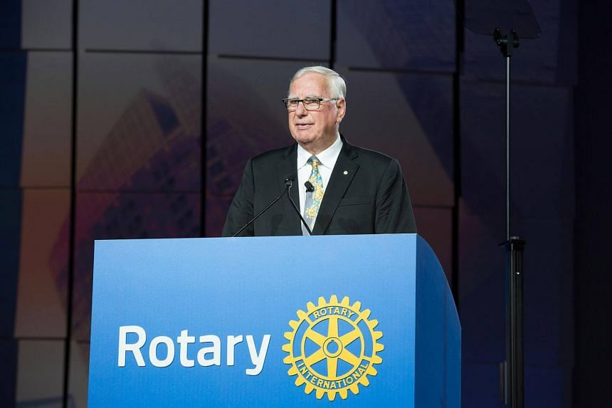 Rotary International president Ian HS Riseley speaking at the closing ceremony of the Rotary International Convention in Atlanta, Georgia on, June 14.
