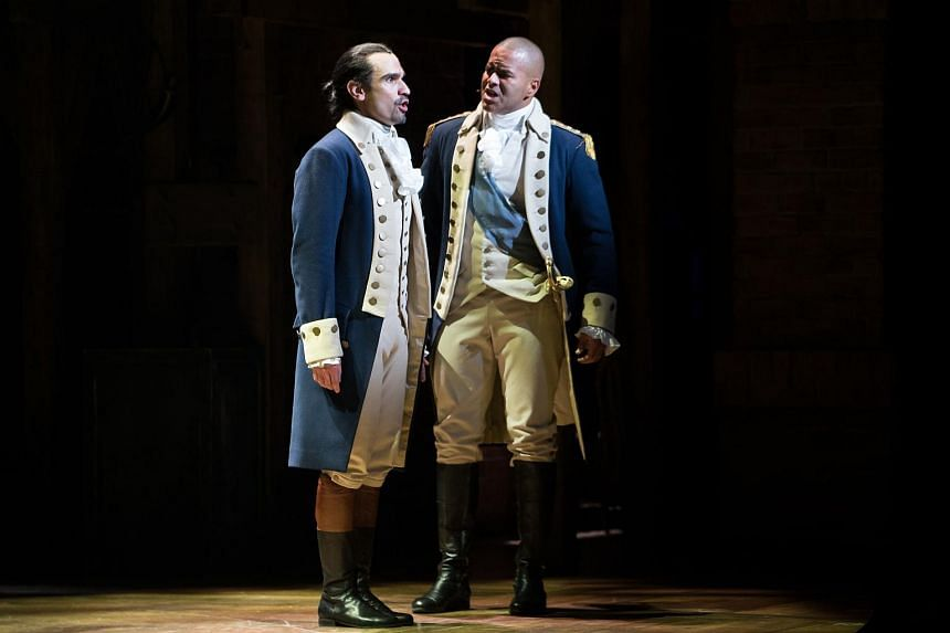 Javier Munoz, left, and Christopher Jackson in Hamilton, at the Richard Rodgers Theater in New York.