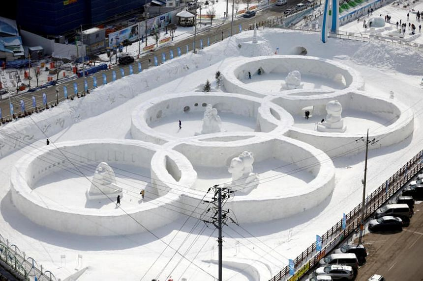 An ice sculpture of the Olympic rings that has been built near the venue for the opening and closing ceremonies of the PyeongChang Winter Olympics.
