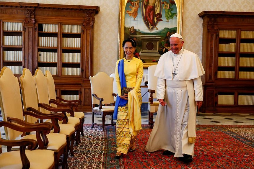 Pope Francis talks with Myanmar State Counsellor Aung San Suu Kyi at the Vatican, on May 4.