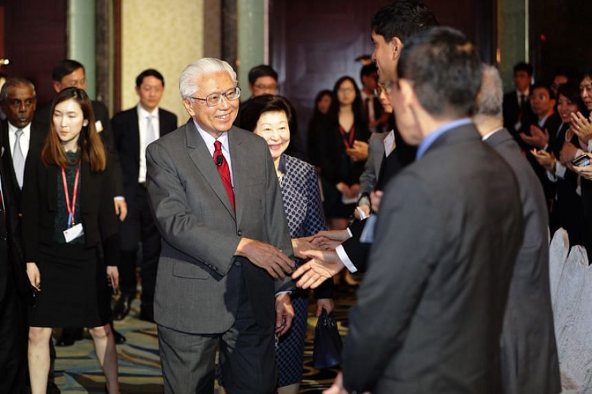 Former president Tony Tan Keng Yam arrives for the annual S Rajaratnam Lecture organised by the Ministry of Foreign Affairs on Nov 28, 2017.