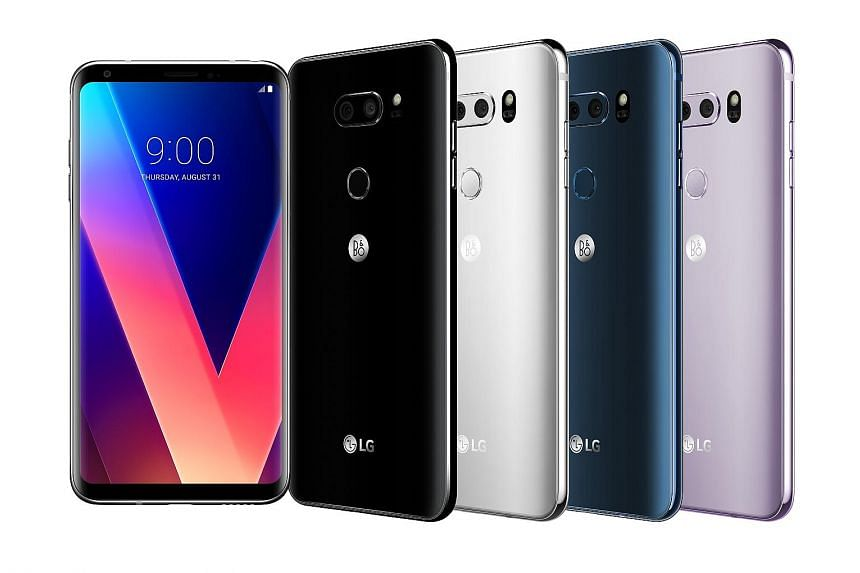 The LG V30+, which will hit shores here next month, has a power button which doubles as a fingerprint sensor at its back.