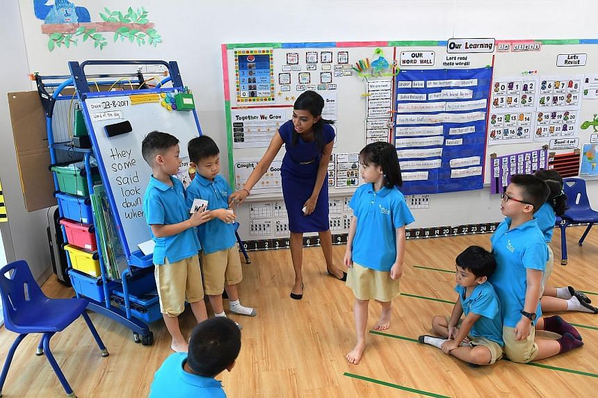 A class at MOE's MK@Punggol Green kindergarten, located in Punggol Green Primary. MOE hopes to have 50 kindergartens located in primary schools and offering 14,000 places by 2023.