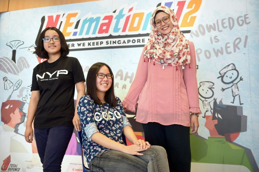 (From left) Students Vivian Lim, Yeon Hui Shan and Nur Khairina Asmi spent a month making Everyday Heroes, a film highlighting teamwork and unification in a time of crisis.