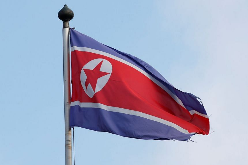 A flag outside the Permanent Mission of North Korea in Geneva, Switzerland.