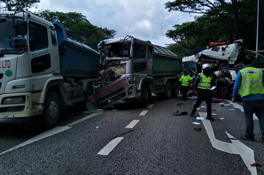 The accident involving two tipper trucks and a lorry caused a big jam on the PIE.