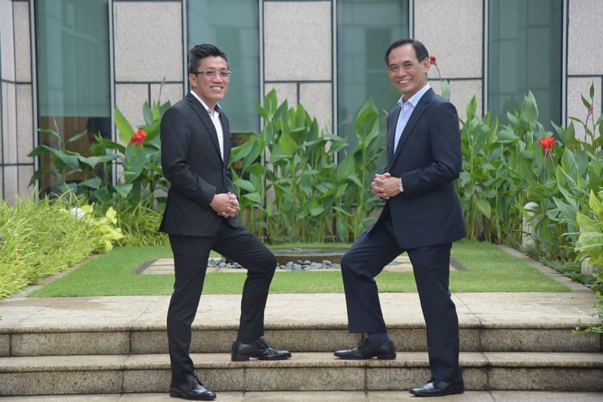 Both Mr Kenny Lo (left) and Mr Paul Chan (right), who are directors of financial services at Great Eastern, appreciate that their jobs allow them to do good beyond just helping their clients. PHOTO: LIM SIN THAI