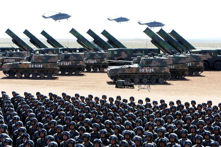 Soldiers of China's People's Liberation Army take part in a military parade at the Zhurihe military training base in Inner Mongolia Autonomous Region, China, on July 30, 2017.